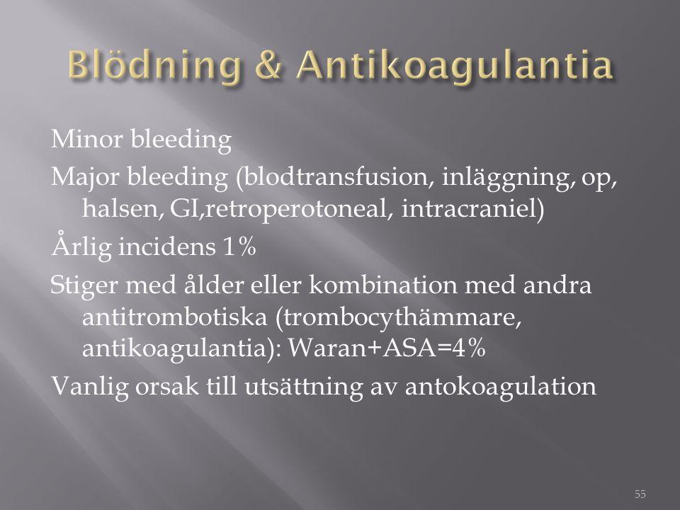 Minor bleeding Major bleeding (blodtransfusion, inläggning, op, halsen, GI,retroperotoneal, intracraniel) Årlig incidens 1% Stiger med ålder eller kom