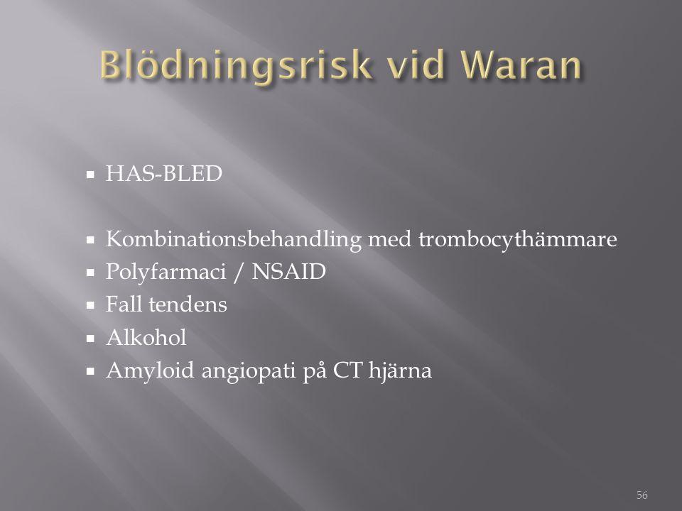  HAS-BLED  Kombinationsbehandling med trombocythämmare  Polyfarmaci / NSAID  Fall tendens  Alkohol  Amyloid angiopati på CT hjärna 56