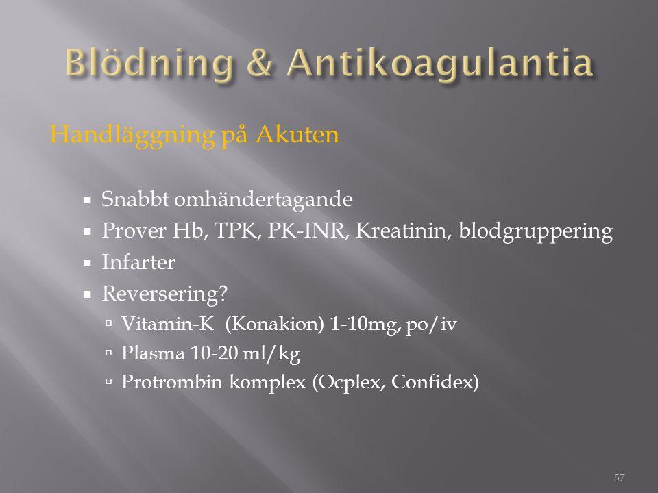 Handläggning på Akuten  Snabbt omhändertagande  Prover Hb, TPK, PK-INR, Kreatinin, blodgruppering  Infarter  Reversering?  Vitamin-K (Konakion) 1
