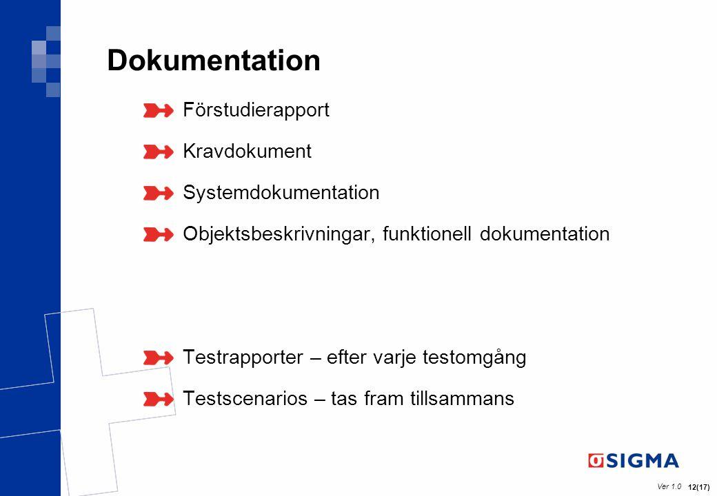 Ver 1.0 12(17) Dokumentation Förstudierapport Kravdokument Systemdokumentation Objektsbeskrivningar, funktionell dokumentation Testrapporter – efter v