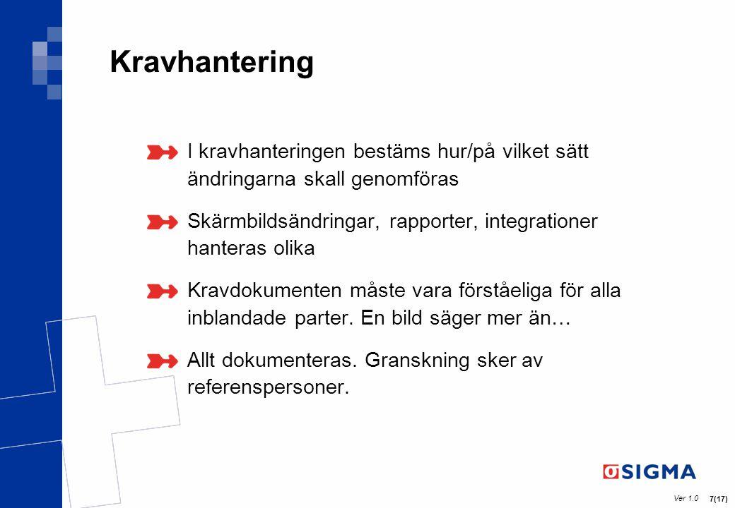 Ver 1.0 7(17) Kravhantering I kravhanteringen bestäms hur/på vilket sätt ändringarna skall genomföras Skärmbildsändringar, rapporter, integrationer ha