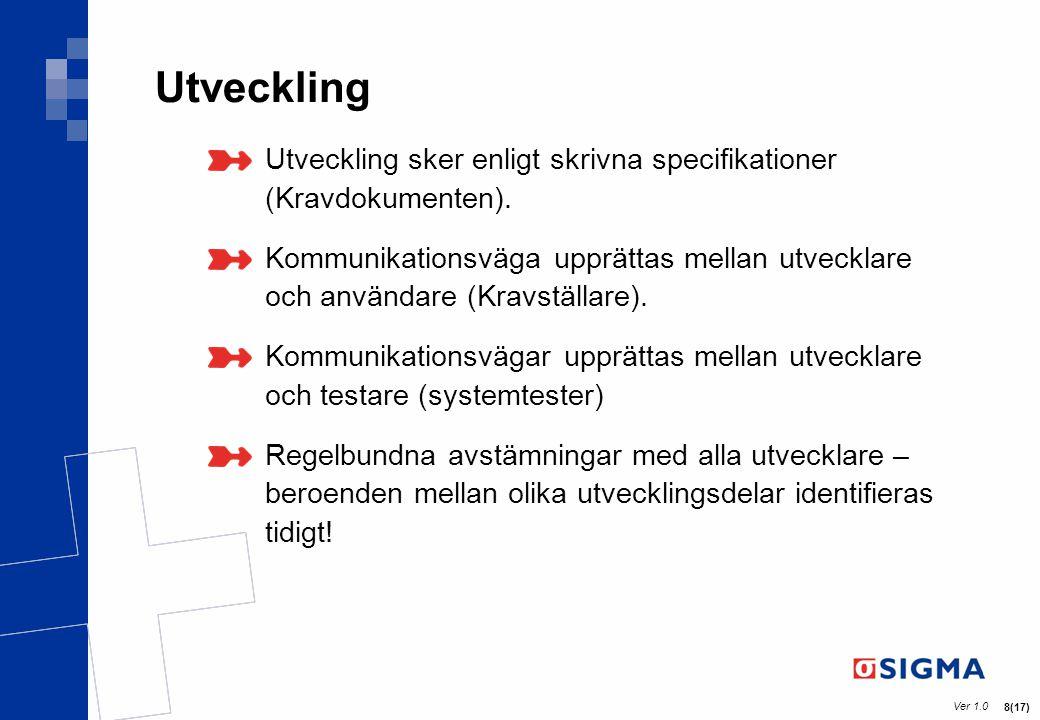 Ver 1.0 8(17) Utveckling Utveckling sker enligt skrivna specifikationer (Kravdokumenten). Kommunikationsväga upprättas mellan utvecklare och användare