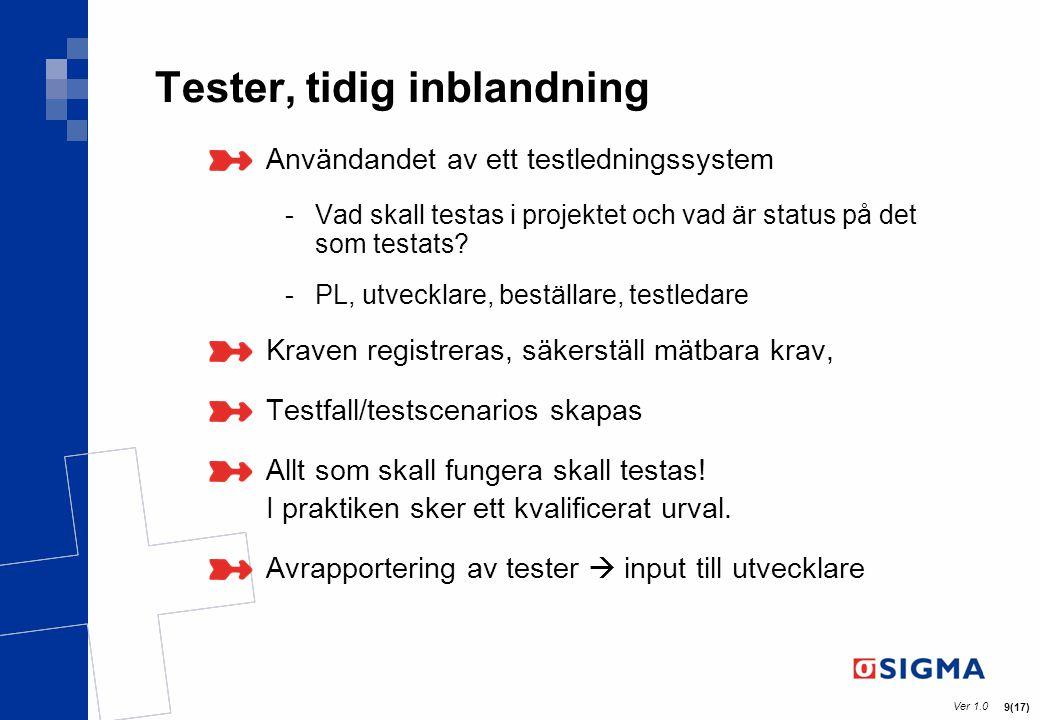 Ver 1.0 9(17) Tester, tidig inblandning Användandet av ett testledningssystem -Vad skall testas i projektet och vad är status på det som testats? -PL,