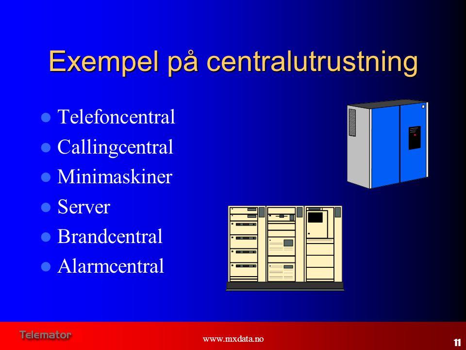 www.mxdata.no Exempel på centralutrustning  Telefoncentral  Callingcentral  Minimaskiner  Server  Brandcentral  Alarmcentral 11