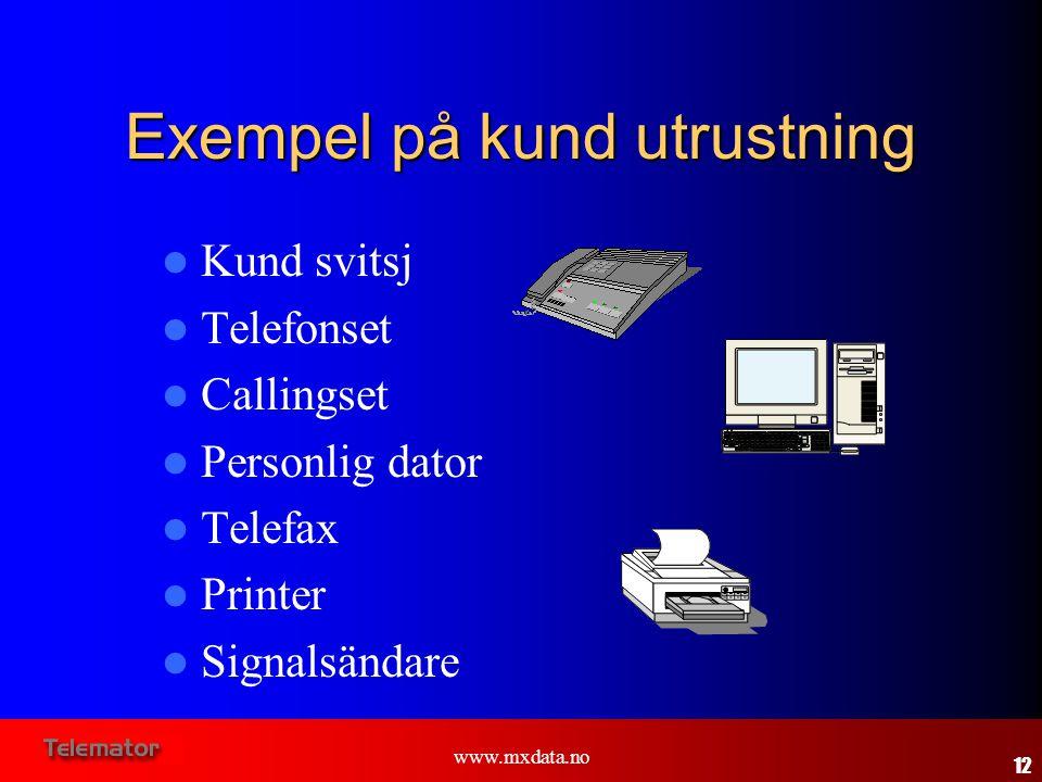 www.mxdata.no Exempel på kund utrustning  Kund svitsj  Telefonset  Callingset  Personlig dator  Telefax  Printer  Signalsändare 12