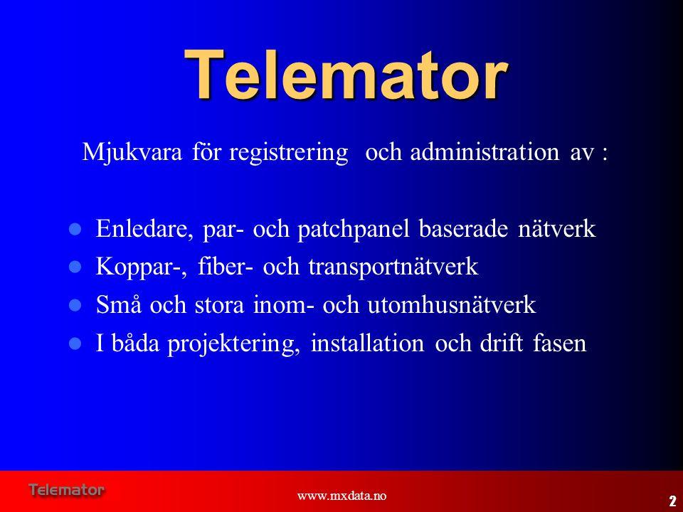 www.mxdata.no Telemator Mjukvara för registrering och administration av :  Enledare, par- och patchpanel baserade nätverk  Koppar-, fiber- och trans