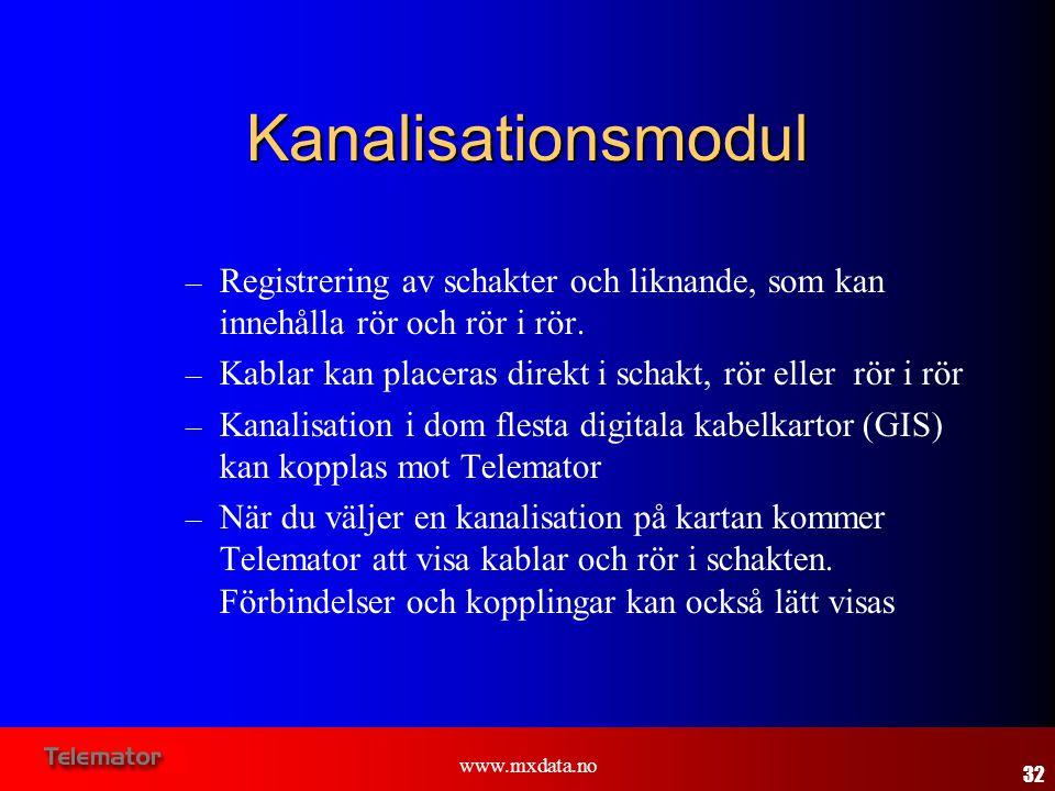 www.mxdata.no Kanalisationsmodul – Registrering av schakter och liknande, som kan innehålla rör och rör i rör. – Kablar kan placeras direkt i schakt,