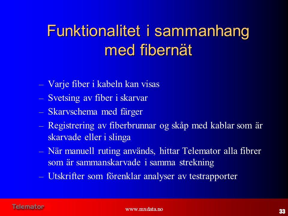 www.mxdata.no Funktionalitet i sammanhang med fibernät – Varje fiber i kabeln kan visas – Svetsing av fiber i skarvar – Skarvschema med färger – Regis