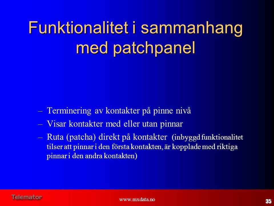 www.mxdata.no Funktionalitet i sammanhang med patchpanel – Terminering av kontakter på pinne nivå – Visar kontakter med eller utan pinnar – Ruta (patc