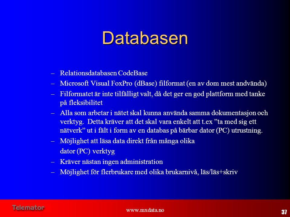 www.mxdata.no Databasen – Relationsdatabasen CodeBase – Microsoft Visual FoxPro (dBase) filformat (en av dom mest andvända) – Filformatet är inte tilf