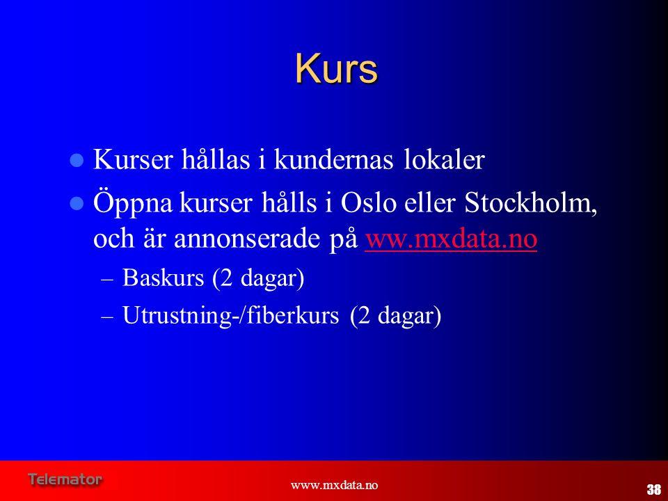 www.mxdata.no  Kurser hållas i kundernas lokaler  Öppna kurser hålls i Oslo eller Stockholm, och är annonserade på ww.mxdata.noww.mxdata.no – Baskur