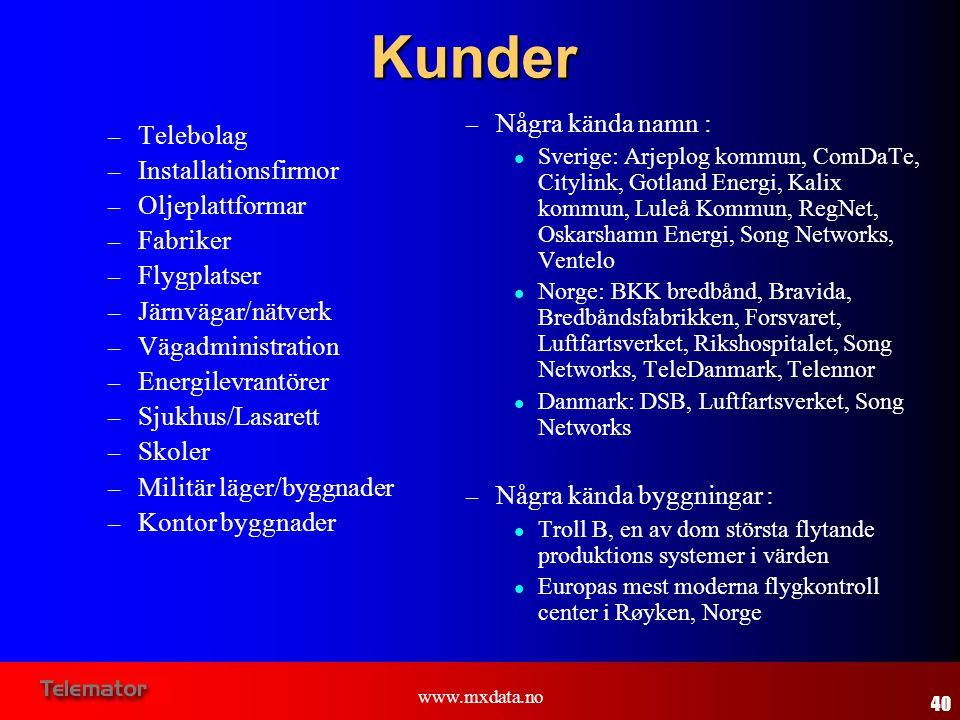 www.mxdata.no Kunder – Telebolag – Installationsfirmor – Oljeplattformar – Fabriker – Flygplatser – Järnvägar/nätverk – Vägadministration – Energilevr