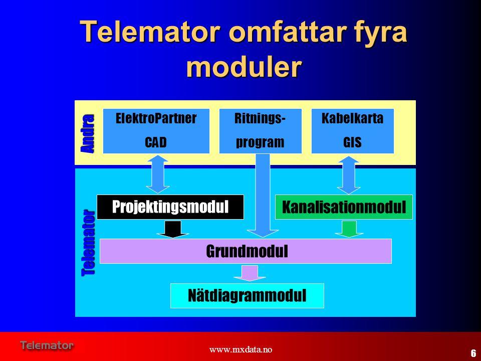 www.mxdata.no Telemator omfattar fyra moduler Nätdiagrammodul Grundmodul Projektingsmodul ElektroPartner CAD Kanalisationmodul Kabelkarta GIS Ritnings