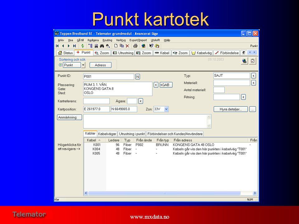 www.mxdata.no Kund kartotek I Kund kartoteken registreras alla kunder med tillhörande förbindelser.