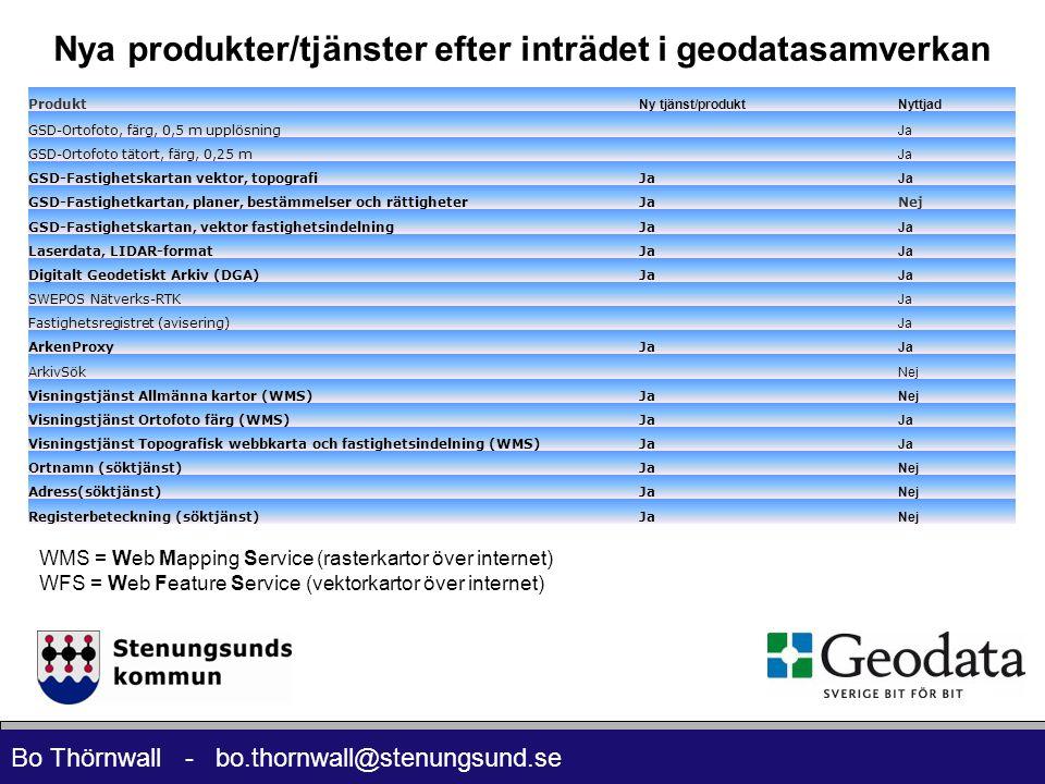 Bo Thörnwall - bo.thornwall@stenungsund.se Nya produkter/tjänster efter inträdet i geodatasamverkan Produkt Ny tjänst/produktNyttjad GSD-Ortofoto, färg, 0,5 m upplösning Ja GSD-Ortofoto tätort, färg, 0,25 m Ja GSD-Fastighetskartan vektor, topografiJa GSD-Fastighetkartan, planer, bestämmelser och rättigheterJaNej GSD-Fastighetskartan, vektor fastighetsindelningJa Laserdata, LIDAR-formatJa Digitalt Geodetiskt Arkiv (DGA)Ja SWEPOS Nätverks-RTK Ja Fastighetsregistret (avisering) Ja ArkenProxyJa ArkivSök Nej Visningstjänst Allmänna kartor (WMS)Ja Nej Visningstjänst Ortofoto färg (WMS)Ja Visningstjänst Topografisk webbkarta och fastighetsindelning (WMS)Ja Ortnamn (söktjänst)Ja Nej Adress(söktjänst)Ja Nej Registerbeteckning (söktjänst)Ja Nej WMS = Web Mapping Service (rasterkartor över internet) WFS = Web Feature Service (vektorkartor över internet)