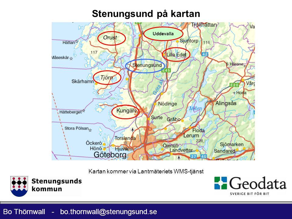 Bo Thörnwall - bo.thornwall@stenungsund.se Kartan kommer via Lantmäteriets WMS-tjänst Uddevalla Stenungsund på kartan