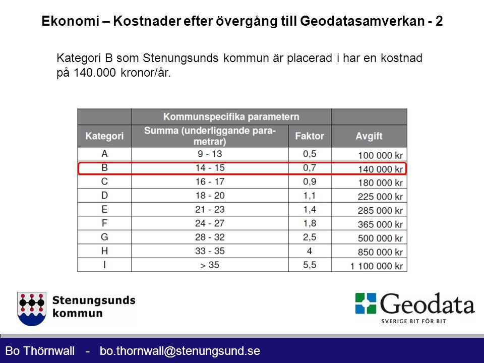 Bo Thörnwall - bo.thornwall@stenungsund.se Ekonomi – Kostnader efter övergång till Geodatasamverkan - 2 Kategori B som Stenungsunds kommun är placerad i har en kostnad på 140.000 kronor/år.