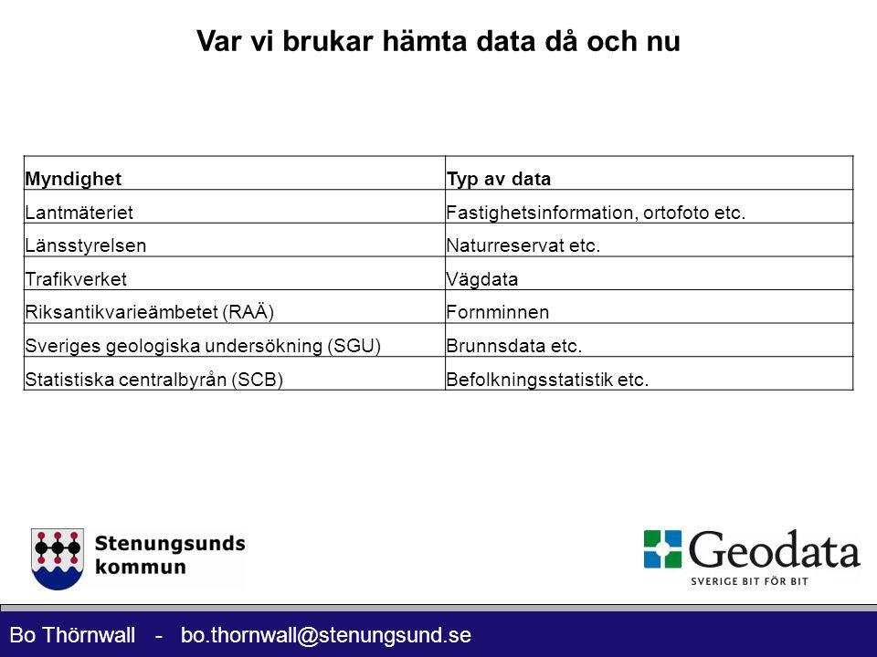 Bo Thörnwall - bo.thornwall@stenungsund.se Var vi brukar hämta data då och nu MyndighetTyp av data LantmäterietFastighetsinformation, ortofoto etc. Lä