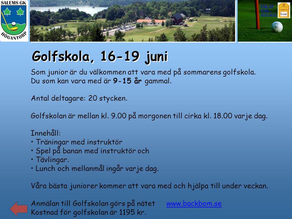 Golfskola, 16-19 juni Som junior är du välkommen att vara med på sommarens golfskola. Du som kan vara med är 9-15 år gammal. Antal deltagare: 20 styck