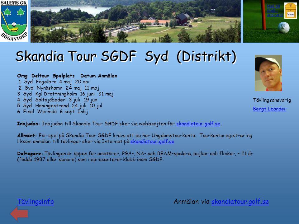 Skandia Tour SGDF Syd (Distrikt) Tävlingsinfo Omg Deltour Spelplats Datum Anmälan 1 Syd Fågelbro 4 maj 20 apr 2 Syd Nynäshamn 24 maj 11 maj 3 Syd Kgl