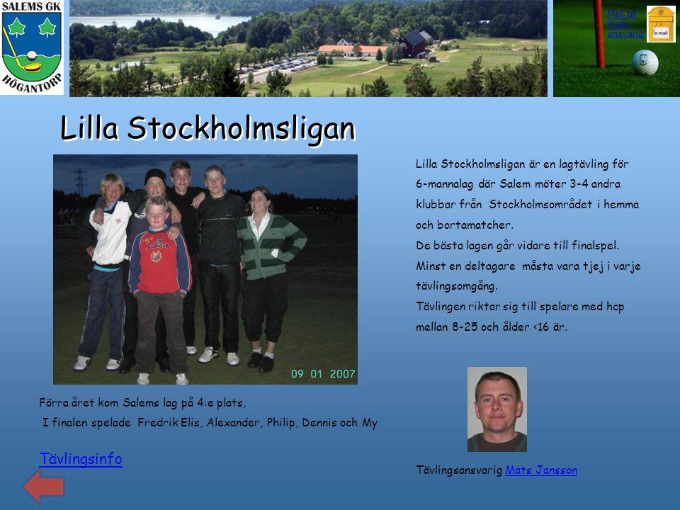 Lilla Stockholmsligan Tävlingsinfo Förra året kom Salems lag på 4:e plats, I finalen spelade Fredrik Elis, Alexander, Philip, Dennis och My Lilla Stoc