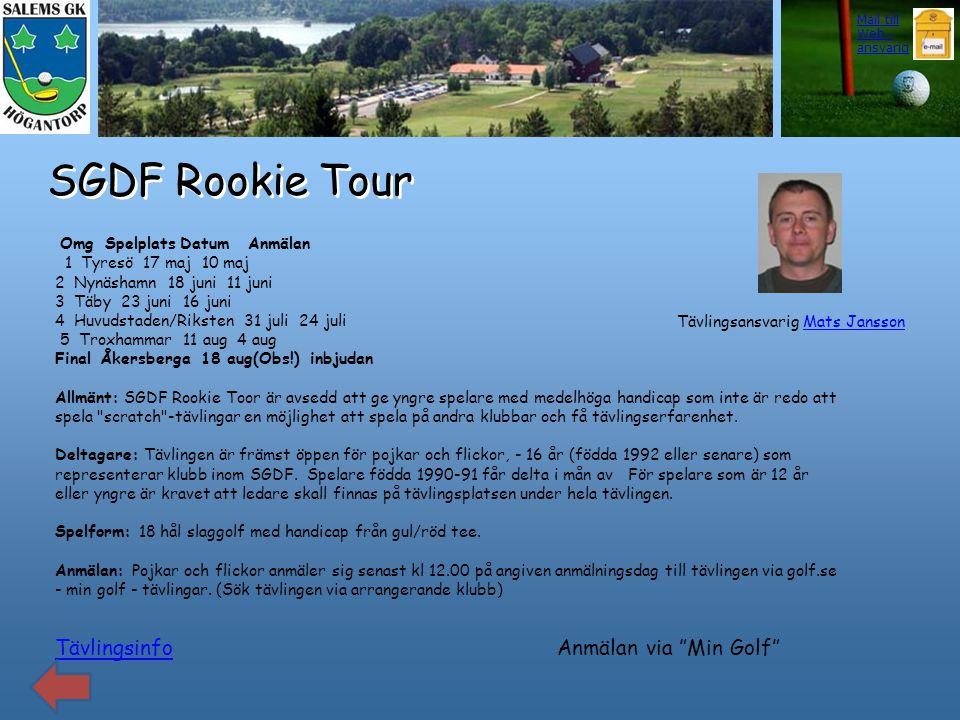 SGDF Rookie Tour Tävlingsinfo Omg Spelplats Datum Anmälan 1 Tyresö 17 maj 10 maj 2 Nynäshamn 18 juni 11 juni 3 Täby 23 juni 16 juni 4 Huvudstaden/Riks