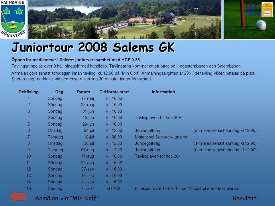 """Juniortour 2008 Salems GK Anmälan via """"Min Golf"""" Mail till Web - ansvarig Resultat Öppen för medlemmar i Salems juniorverksamhet med HCP 0-36 Tävlinge"""
