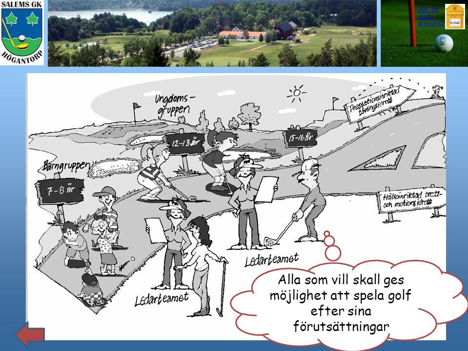 Lilla Stockholmsligan Alla som vill skall ges möjlighet att spela golf efter sina förutsättningar Mail till Web - ansvarig