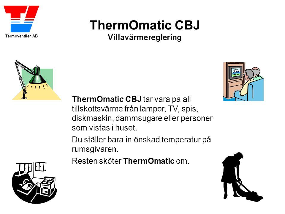 Termoventiler AB ThermOmatic CBJ Villavärmereglering ThermOmatic CBJ tar vara på all tillskottsvärme från lampor, TV, spis, diskmaskin, dammsugare eller personer som vistas i huset.