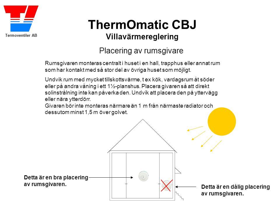 Termoventiler AB ThermOmatic CBJ Villavärmereglering Placering av rumsgivare Rumsgivaren monteras centralt i huset i en hall, trapphus eller annat rum som har kontakt med så stor del av övriga huset som möjligt.