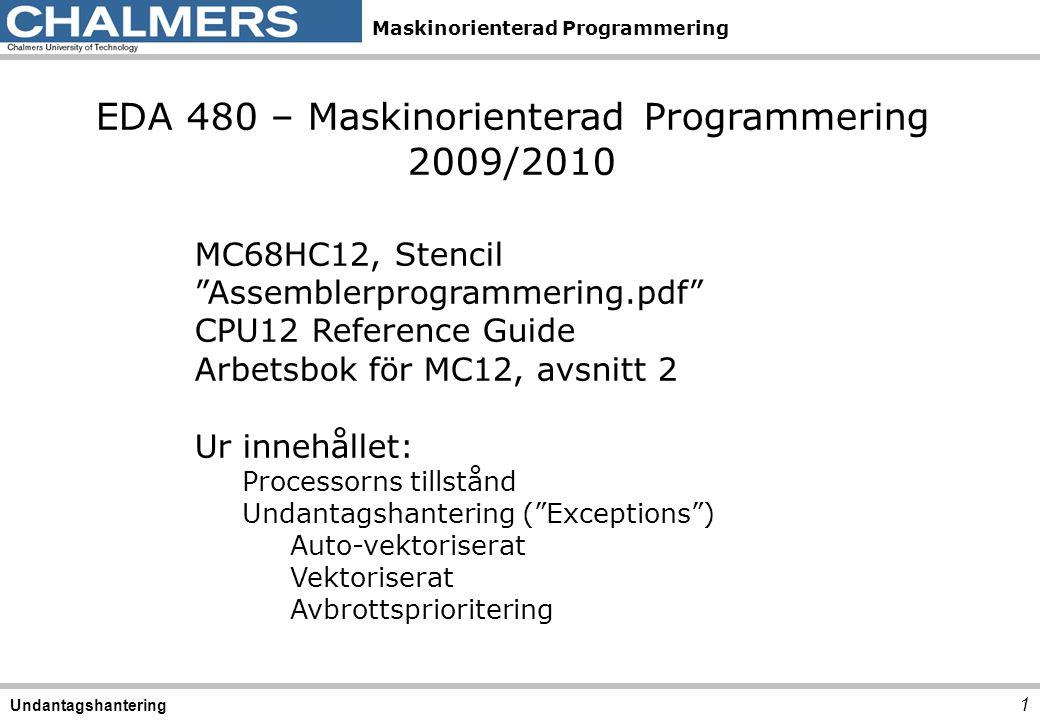 "Maskinorienterad Programmering 1 Undantagshantering EDA 480 – Maskinorienterad Programmering 2009/2010 MC68HC12, Stencil ""Assemblerprogrammering.pdf"""