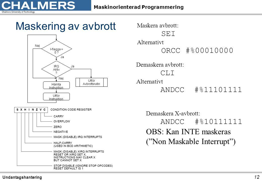 Maskinorienterad Programmering Maskering av avbrott 12 Undantagshantering Maskera avbrott: SEI Alternativt ORCC#%00010000 Demaskera avbrott: CLI Alter
