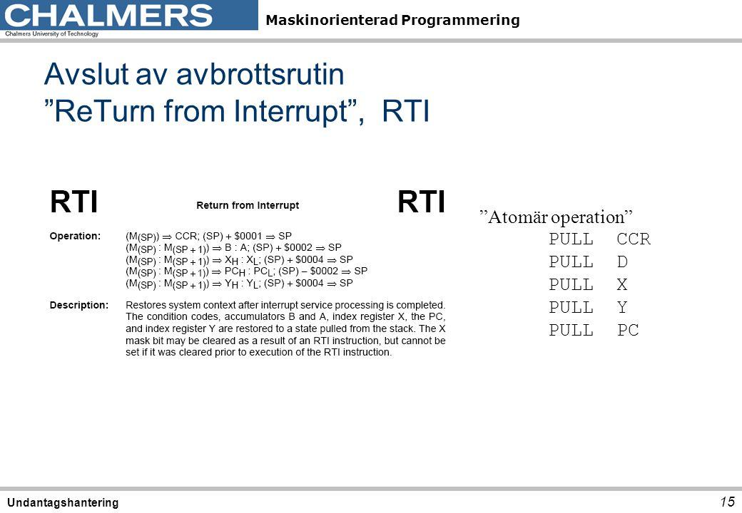 """Maskinorienterad Programmering Avslut av avbrottsrutin """"ReTurn from Interrupt"""", RTI 15 Undantagshantering """"Atomär operation"""" PULLCCR PULLD PULLX PULLY"""