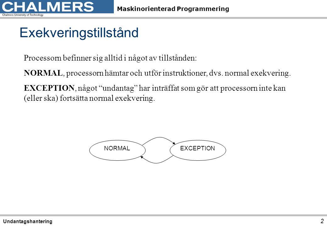 Maskinorienterad Programmering Exekveringstillstånd 2 Undantagshantering Processorn befinner sig alltid i något av tillstånden: NORMAL, processorn häm