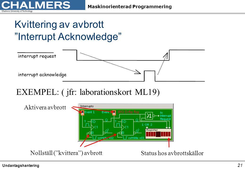 """Maskinorienterad Programmering Kvittering av avbrott """"Interrupt Acknowledge"""" 21 Undantagshantering EXEMPEL: ( jfr: laborationskort ML19) Aktivera avbr"""