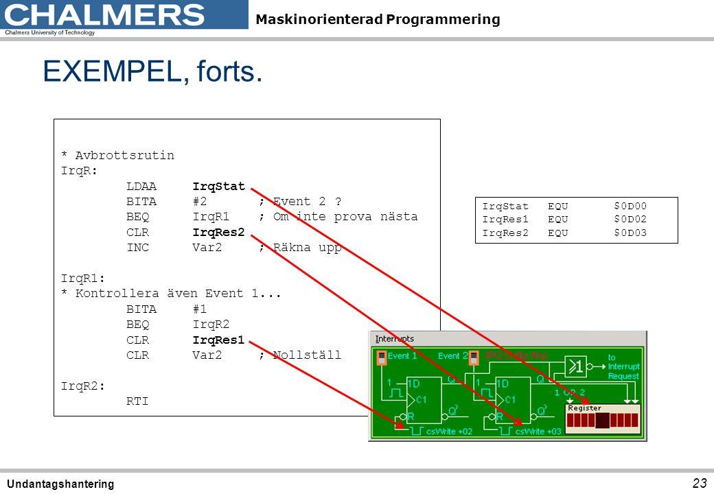 Maskinorienterad Programmering EXEMPEL, forts. 23 Undantagshantering * Avbrottsrutin IrqR: LDAAIrqStat BITA#2; Event 2 ? BEQIrqR1; Om inte prova nästa