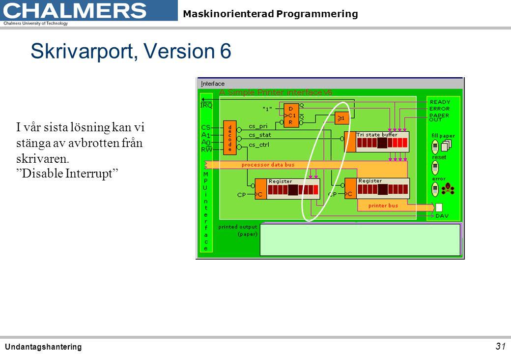 """Maskinorienterad Programmering Skrivarport, Version 6 31 Undantagshantering I vår sista lösning kan vi stänga av avbrotten från skrivaren. """"Disable In"""