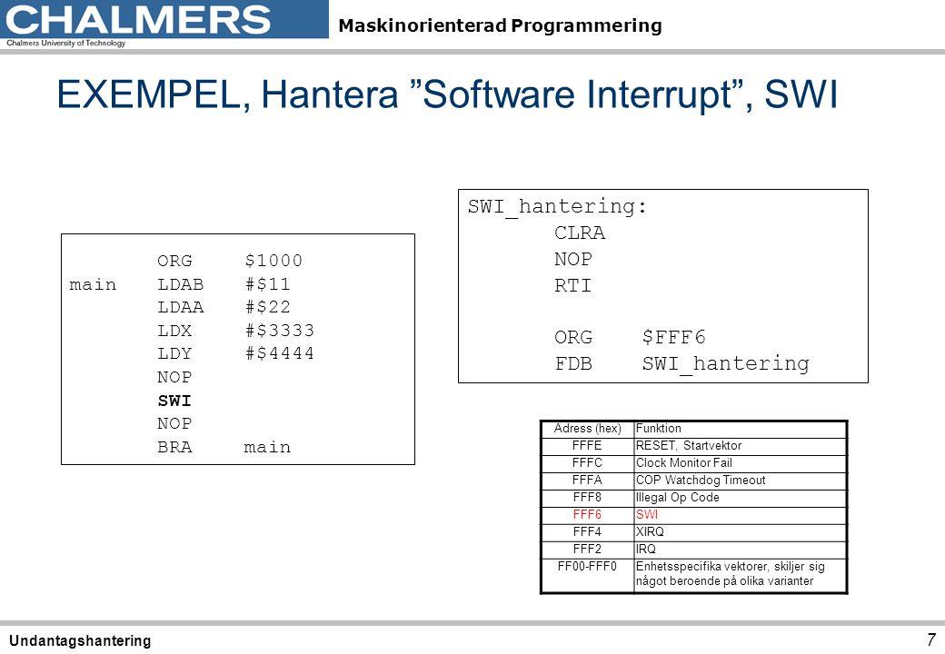 """Maskinorienterad Programmering EXEMPEL, Hantera """"Software Interrupt"""", SWI 7 Undantagshantering ORG$1000 mainLDAB#$11 LDAA#$22 LDX#$3333 LDY#$4444 NOP"""