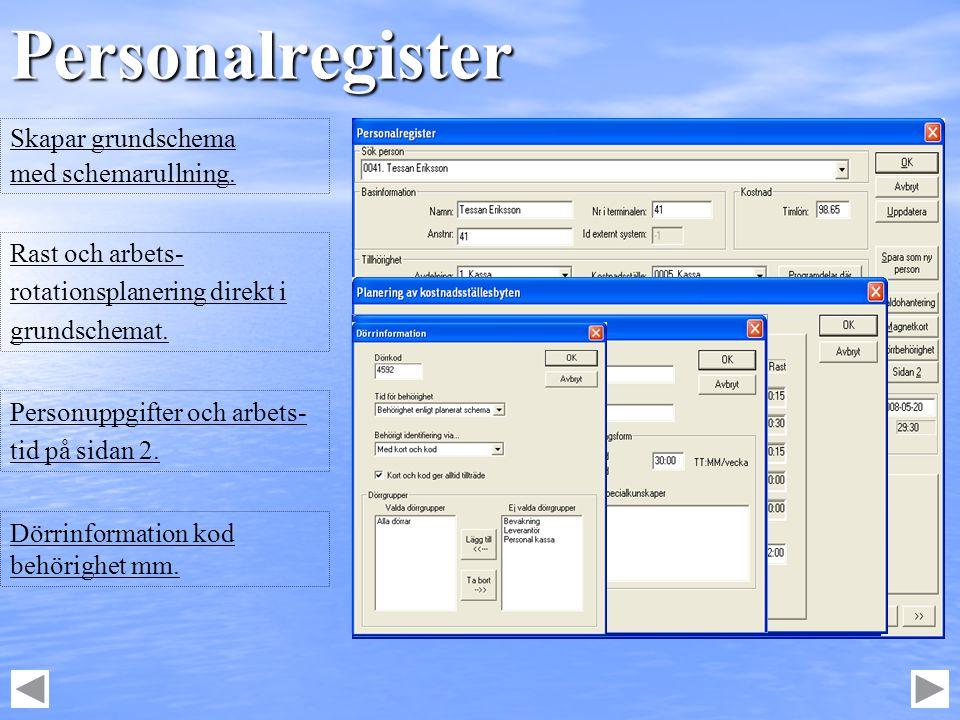 Personalregister Skapar grundschema med schemarullning. Personuppgifter och arbets- tid på sidan 2. Rast och arbets- rotationsplanering direkt i grund
