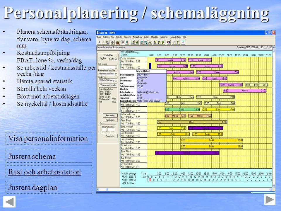 Personalplanering / schemaläggning • •Planera schemaförändringar, frånvaro, byte av dag, schema mm • •Kostnadsuppföljning FBAT, löne %, vecka/dag • •S
