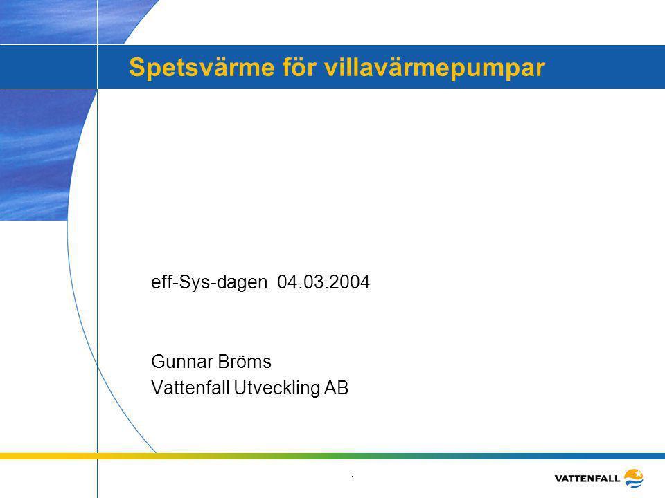 1 Spetsvärme för villavärmepumpar eff-Sys-dagen 04.03.2004 Gunnar Bröms Vattenfall Utveckling AB