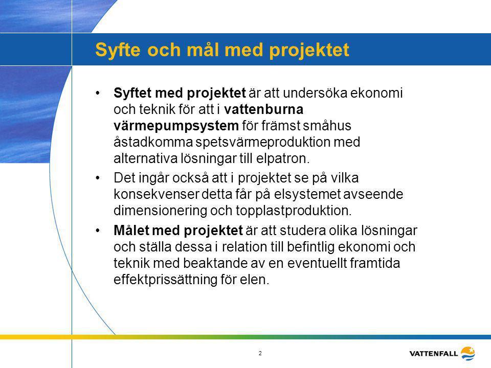 2 Syfte och mål med projektet •Syftet med projektet är att undersöka ekonomi och teknik för att i vattenburna värmepumpsystem för främst småhus åstadk