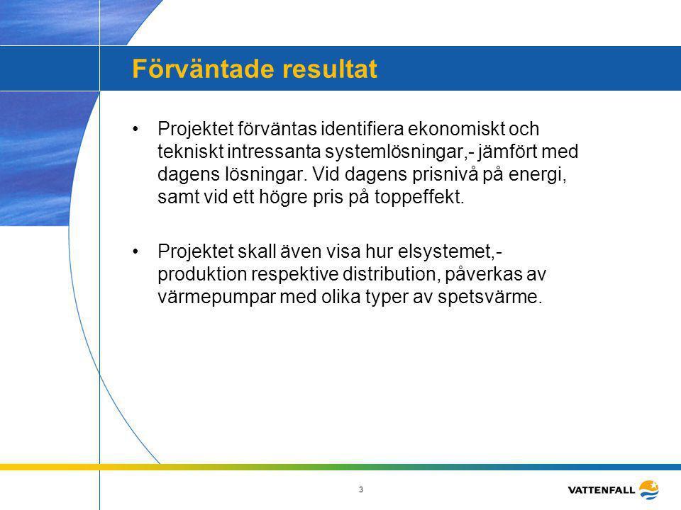 3 Förväntade resultat •Projektet förväntas identifiera ekonomiskt och tekniskt intressanta systemlösningar,- jämfört med dagens lösningar. Vid dagens