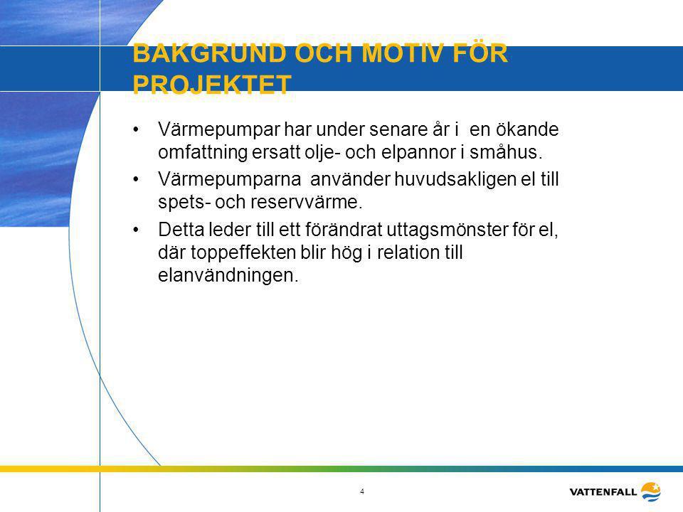 4 BAKGRUND OCH MOTIV FÖR PROJEKTET •Värmepumpar har under senare år i en ökande omfattning ersatt olje- och elpannor i småhus. •Värmepumparna använder
