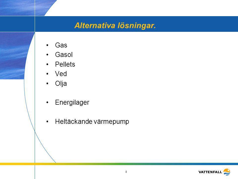 8 Alternativa lösningar. •Gas •Gasol •Pellets •Ved •Olja •Energilager •Heltäckande värmepump