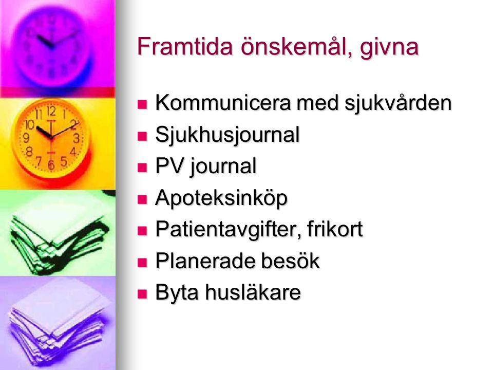Framtida önskemål, givna  Kommunicera med sjukvården  Sjukhusjournal  PV journal  Apoteksinköp  Patientavgifter, frikort  Planerade besök  Byta