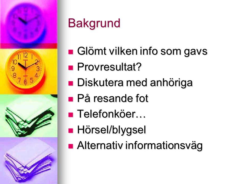 Bakgrund  Glömt vilken info som gavs  Provresultat?  Diskutera med anhöriga  På resande fot  Telefonköer…  Hörsel/blygsel  Alternativ informati