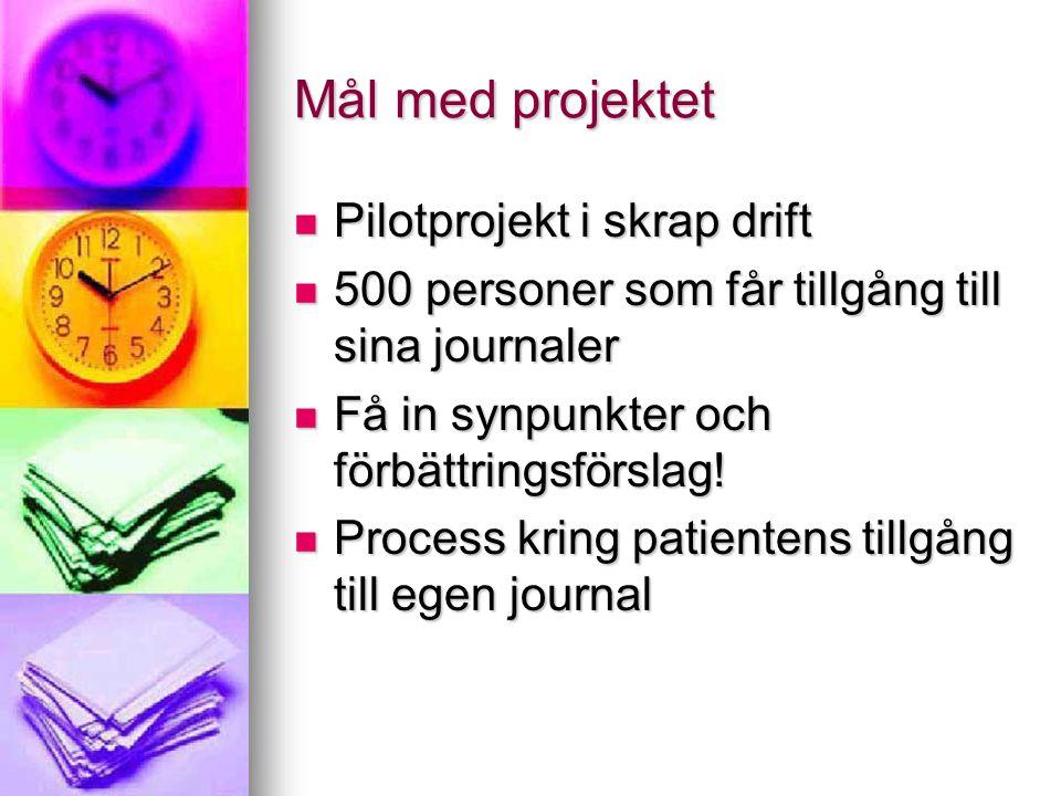 Mål med projektet  Pilotprojekt i skrap drift  500 personer som får tillgång till sina journaler  Få in synpunkter och förbättringsförslag!  Proce