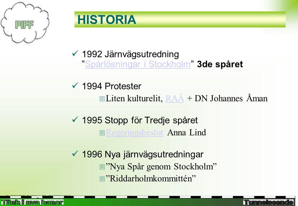 HISTORIA  1992 Järnvägsutredning Spårlösningar i Stockholm 3de spåretSpårlösningar i Stockholm  1994 Protester  Liten kulturelit, RAÄ + DN Johannes ÅmanRAÄ  1995 Stopp för Tredje spåret  Regeringsbeslut Anna Lind Regeringsbeslut  1996 Nya järnvägsutredningar  Nya Spår genom Stockholm  Riddarholmkommittén