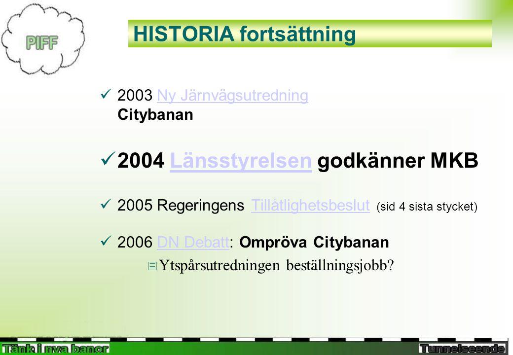 HISTORIA fortsättning  2003 Ny Järnvägsutredning CitybananNy Järnvägsutredning  2004 Länsstyrelsen godkänner MKBLänsstyrelsen  2005 Regeringens Tillåtlighetsbeslut (sid 4 sista stycket)Tillåtlighetsbeslut  2006 DN Debatt: Ompröva CitybananDN Debatt  Ytspårsutredningen beställningsjobb?